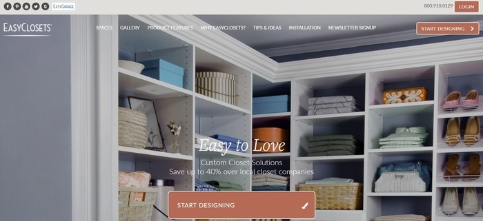 screenshot of the affiliate sign up page for EasyClosets