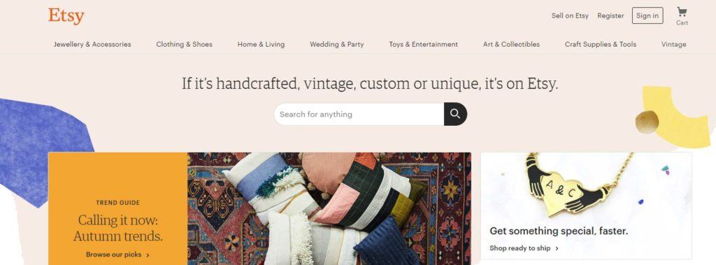 Etsy website screenshot showing an image of cushions on a rug, along with a hand crafted necklace and the various menus from Etsy.