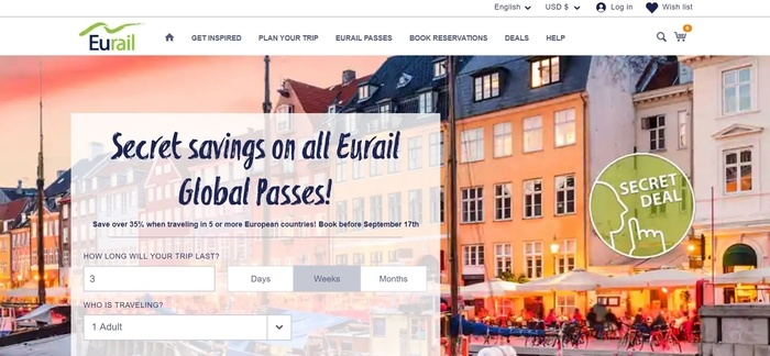screenshot of the affiliate sign up page for Eurail