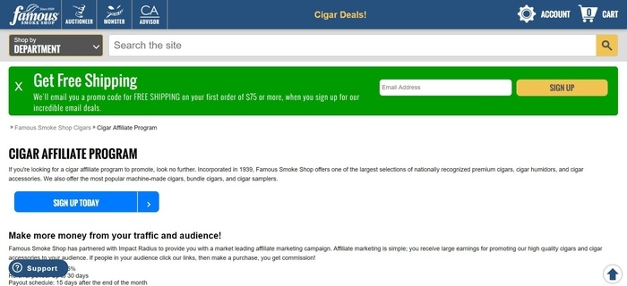 screenshot of the affiliate sign up page for Famous Smoke Shop