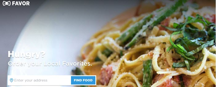 Favor website screenshot showing a bowl of fresh pasta with greens and tomatoes.