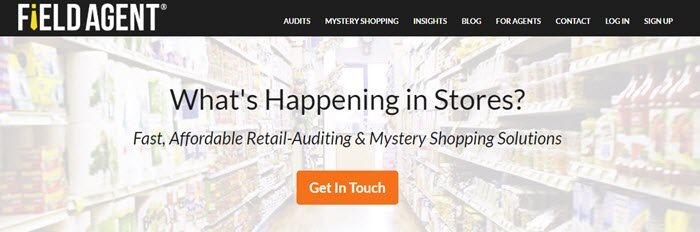Field Agent website screenshot showing a washed out background image of a grocery store, with text about learning what is happening in stores.