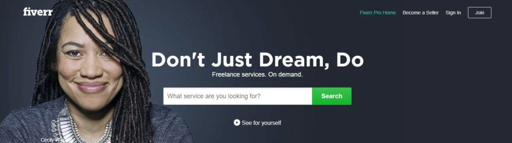Fiverr website screenshot showing a young woman against a black background, smiling at the camera.