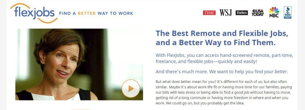 FlexJobs website screenshot showing a paused video of a woman with shirt hair, along with text about remote and flexible jobs.