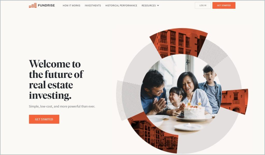 screenshot of Fundrise home page