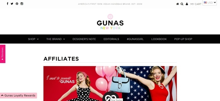 screenshot of the affiliate sign up page for GUNAS