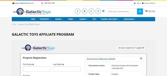 screenshot of the affiliate sign up page for Galactic Toys