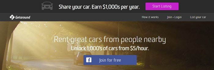 Getaround website screenshot showing a car driving away in a wooded area with sunlight streaming through.