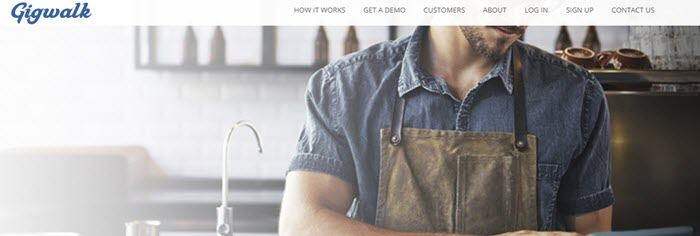 Gigwalk website screenshot showing a young barista working in a shop.