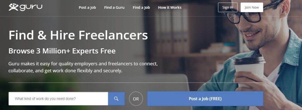 Guru website screenshot showing a young man with glasses and a coffee working on his laptop, along with text about finding and hiring freelancers.
