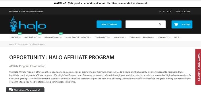 screenshot of the affiliate sign up page for HaloCigs