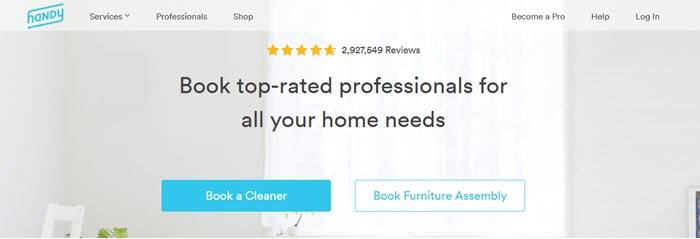 Handy website screenshot showing a background image of a clean and well-lit room, with text that talks about booking top-rated professionals.