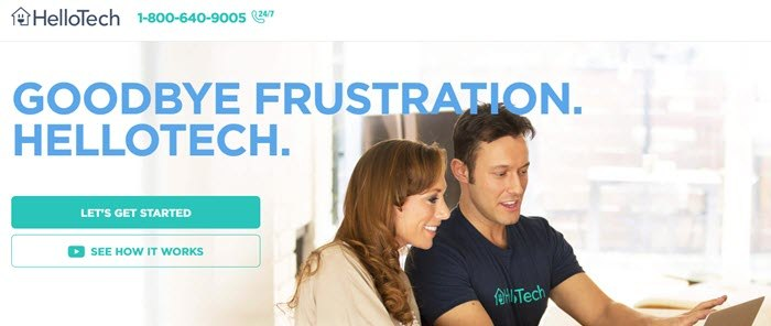 HelloTech website screenshot showing a woman and a young man in a HelloTech shirt looking at a tablet.