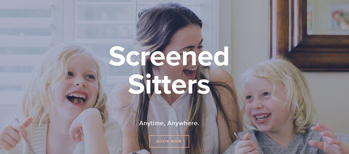 Helpr website screenshot showing a smiling young woman sitting between two grinning blonde children