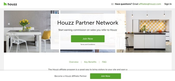 screenshot of the affiliate sign up page for Houzz