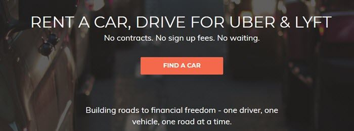 HyreCar website screenshot showing an out of focus image of cars in traffic, along with text that talks about renting a car to drive.
