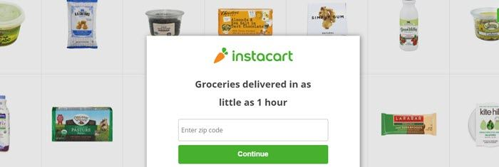 Instacart website screenshot showing a selection of different foods and a box for users to enter their zip code.