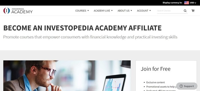 screenshot of the affiliate sign up page for Investopedia Academy