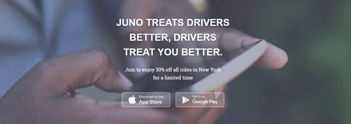Juno website screenshot showing a closeup image of a man's hands as he uses a smartphone.