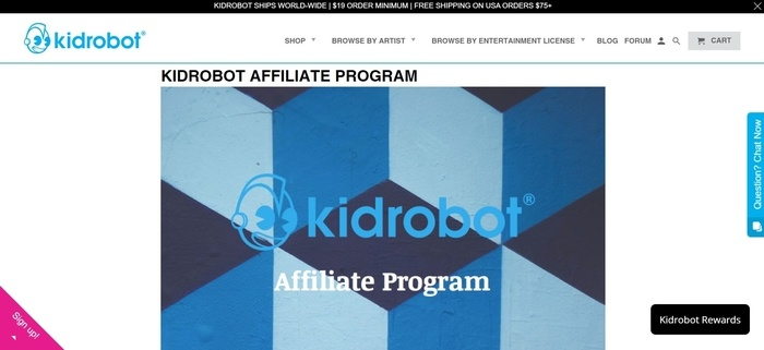 screenshot of the affiliate sign up page for Kiddrobot