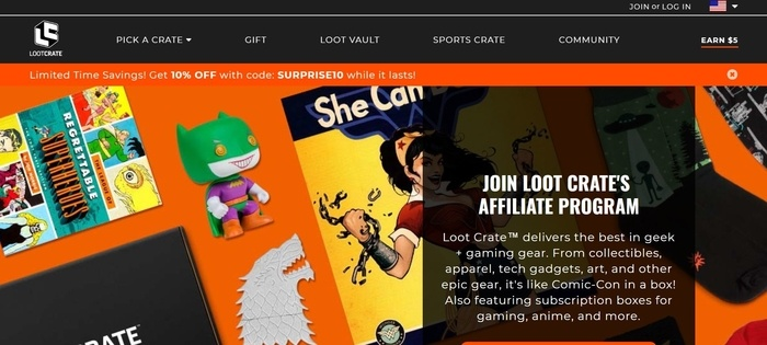 screenshot of the affiliate sign up page for Loot Crate