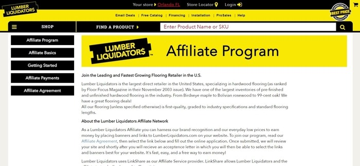 screenshot of the affiliate sign up page for Lumber Liquidators