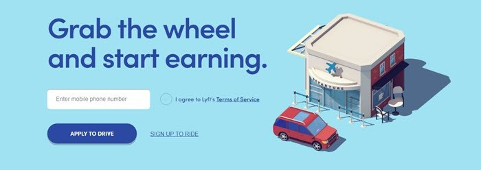 Lyft website screenshot showing a stylized image of a car at an airport departure lounge, on top of a sky blue background.