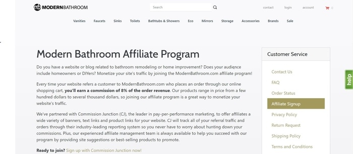 screenshot of the affiliate sign up page for Modern Bathroom