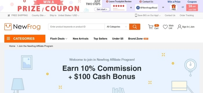screenshot of the affiliate sign up page for Newfrog