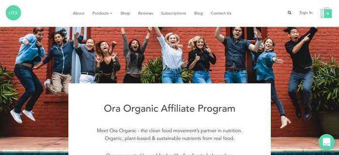 screenshot of the affiliate sign up page for Ora Organic