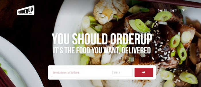 OrderUp Website Screenshot showing a plate of meat, veggies and rice