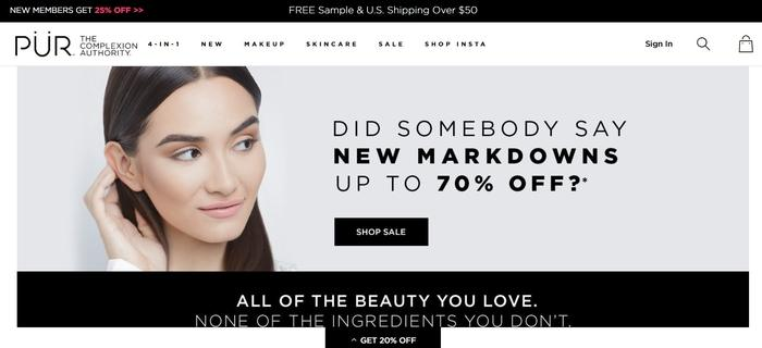 screenshot of the affiliate sign up page for PUR The Complexion Authority