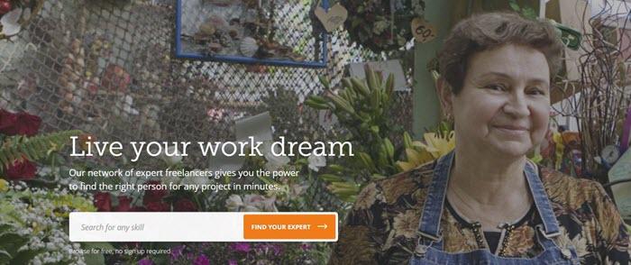 PeoplePerHour website screenshot showing an image of an older woman standing in a flower shop.