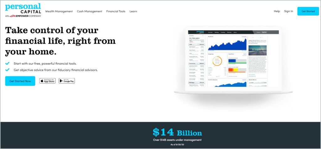 screenshot of Personal Capital home page