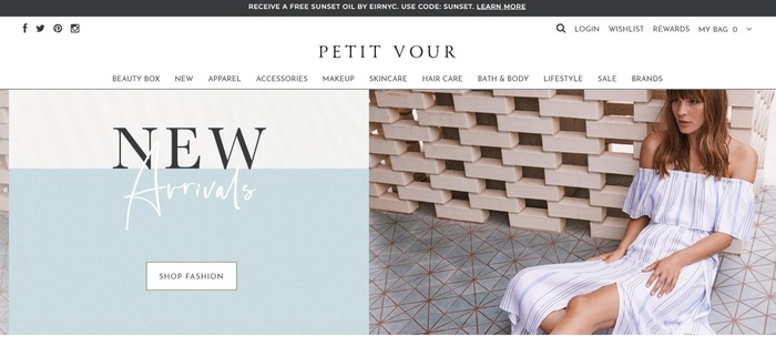screenshot of the affiliate sign up page for Petit Vour