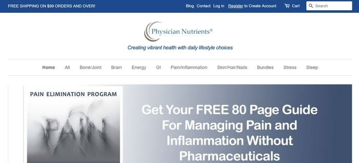 screenshot of the affiliate sign up page for Physician Nutrients