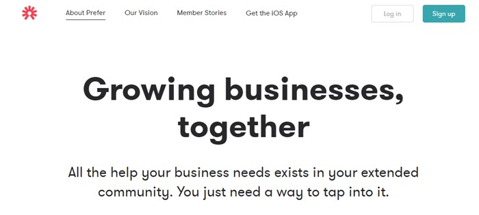 Prefer website screenshot showing text that talks about growing businesses, against a white background.