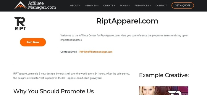 screenshot of the affiliate sign up page for RIPTapparel