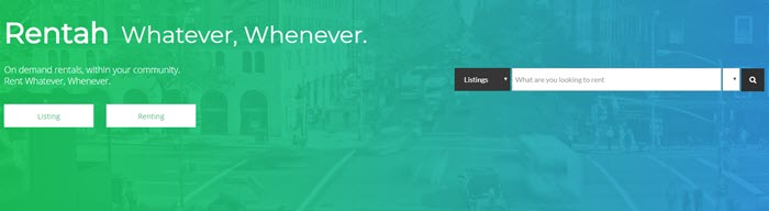Rentah website screenshot showing an image of a busy city, overlaid with a blue-green gradient and details about renting whatever whenever.
