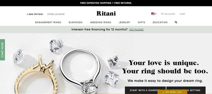 screenshot of the affiliate sign up page for Ritani