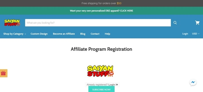 screenshot of the affiliate sign up page for Saiyan Stuff