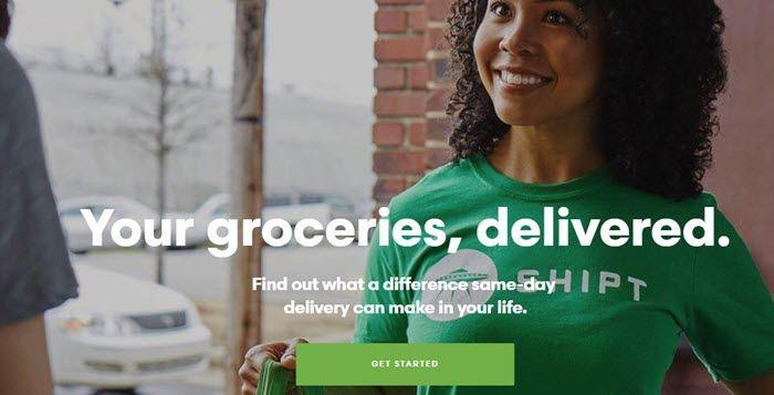 Shipt website screenshot showing a young woman in a green Shipt shirt.