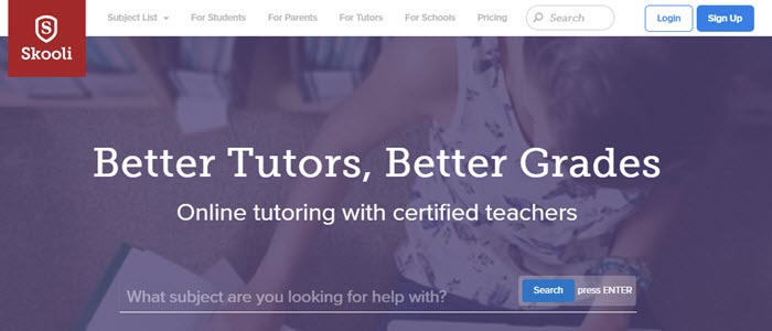 Skooli website screenshot showing a background image of a young girl doing homework, with text about better tutors and better grades.