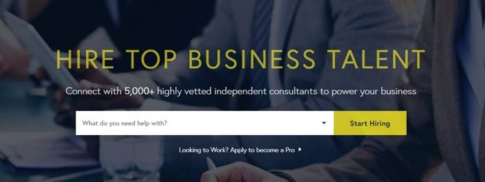 SpareHire website screenshot showing a background image of various businessmen sitting at a meeting.