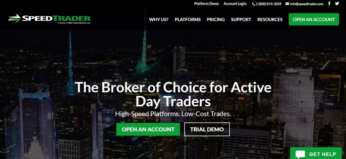 screenshot of the affiliate sign up page for SpeedTrader
