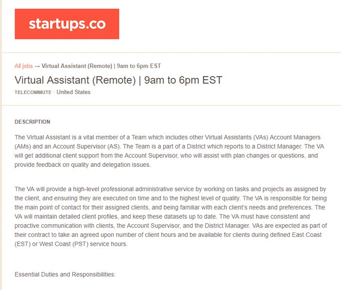 Startups Career Page For Zirtual