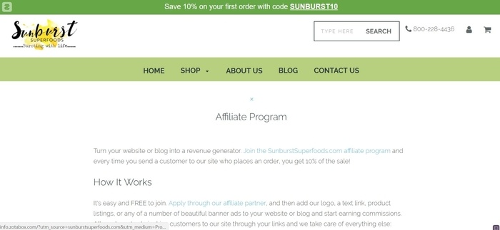 screenshot of the affiliate sign up page for SunburstSuperfoods
