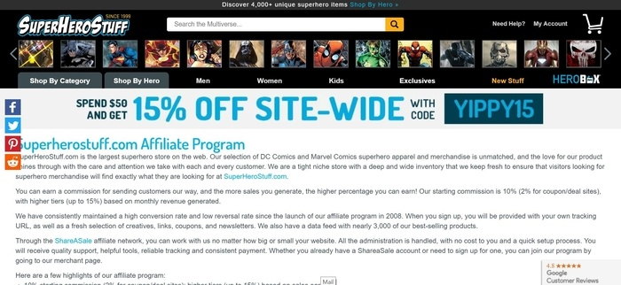 screenshot of the affiliate sign up page for SuperHeroStuff