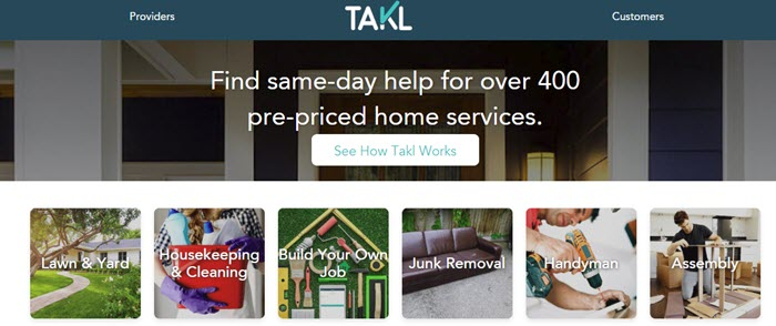 Takl website screenshot showing an image of a house, with small images that highlights some of the individual types of work that Takl offers.