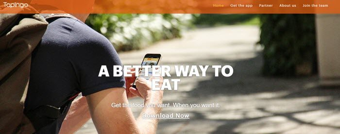 Tapingo Website Screenshot showing a young man on campus with a phone
